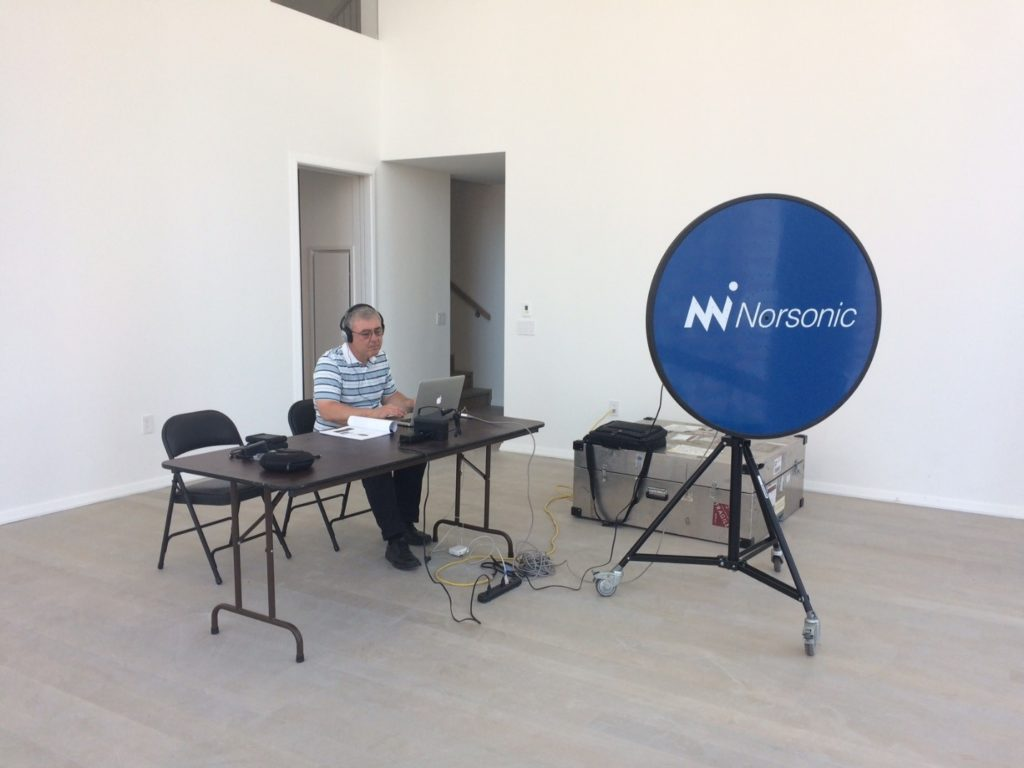 Figure #2: Robert Donovan with Acoustic Camera Set-Up for Noise Study